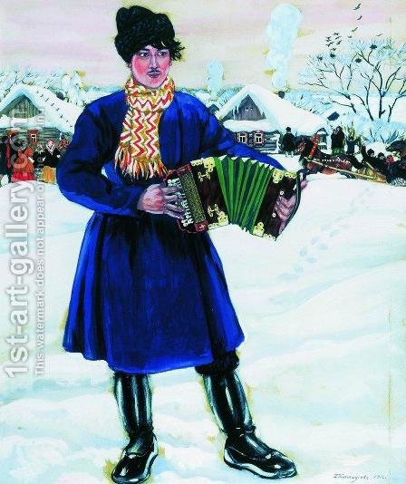 Pancake Tuesday in a Village. Maslenitsa by Boris Kustodiev - Reproduction Oil Painting