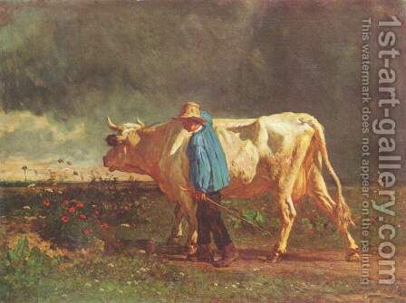 Herdsman by Constant Troyon - Reproduction Oil Painting