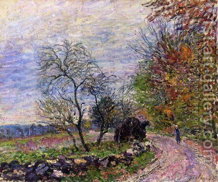 Along the woods in Autumn by Alfred Sisley - Reproduction Oil Painting