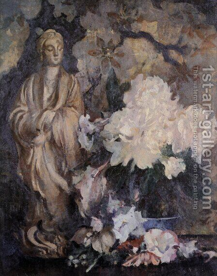 Still Life with Oriental Statue by Edmund Charles Tarbell - Reproduction Oil Painting