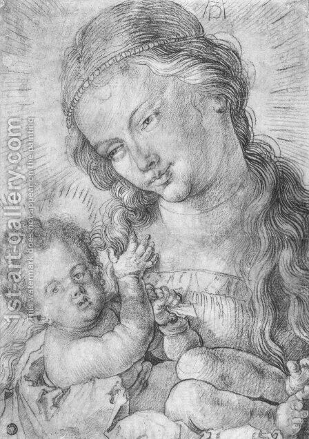 Madonna and child in half length by Albrecht Durer - Reproduction Oil Painting