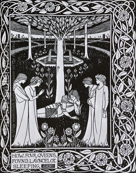 How Four Queens found Launcelot Sleeping by Aubrey Vincent Beardsley - Reproduction Oil Painting