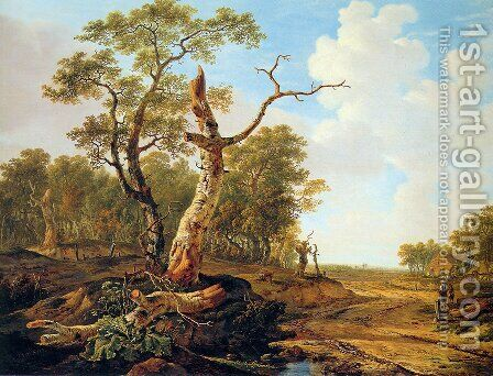 Landscape with dead tree by Jacob van Strij - Reproduction Oil Painting