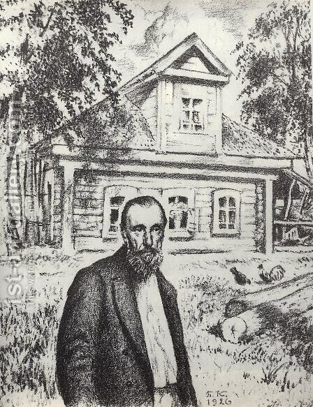 S.P. Podyachev in his hut in the village Obolyaninove by Boris Kustodiev - Reproduction Oil Painting