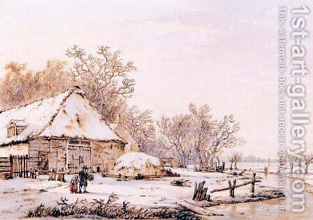 Winter landscape with farm by Jacob van Strij - Reproduction Oil Painting