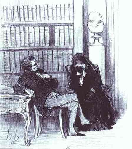 The Widow at a Consultation by Honoré Daumier - Reproduction Oil Painting
