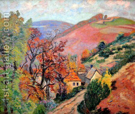 Mountain Landscape - Pontgibaud, village in Peschadoire by Armand Guillaumin - Reproduction Oil Painting