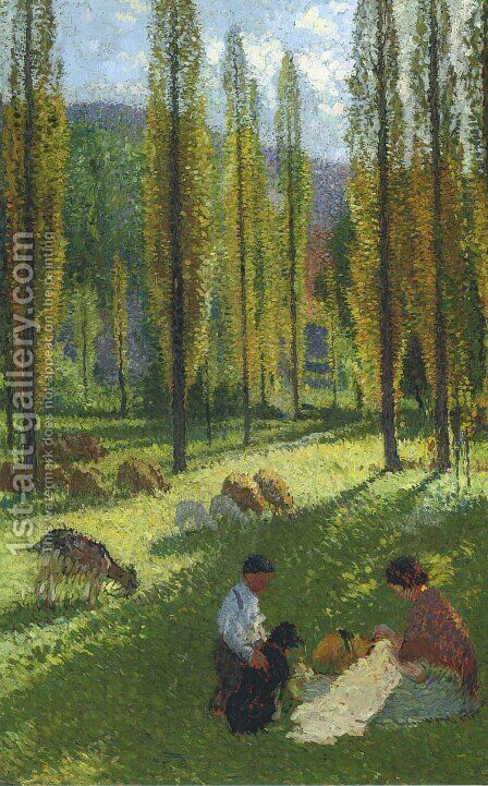 The Poplars - The Couture by Henri Martin - Reproduction Oil Painting