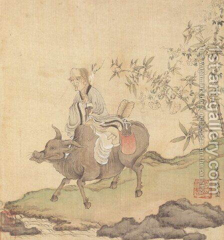 Lao-tzu Riding an Ox by Chen Hongshou - Reproduction Oil Painting