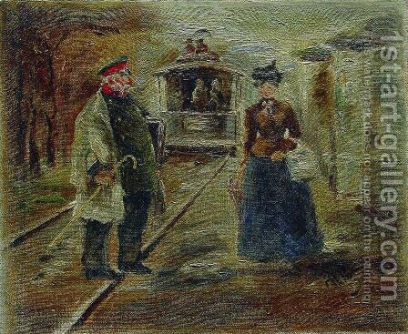On the platform of the station. Street scene with a receding carriage by Ilya Efimovich Efimovich Repin - Reproduction Oil Painting