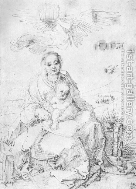 Madonna and child on the grassy bank 2 by Albrecht Durer - Reproduction Oil Painting