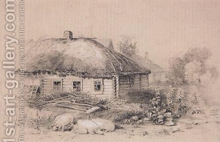 Landscape with hut 2 by Alexei Kondratyevich Savrasov - Reproduction Oil Painting
