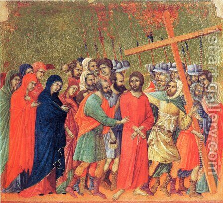Carrying of the Cross by Duccio Di Buoninsegna - Reproduction Oil Painting