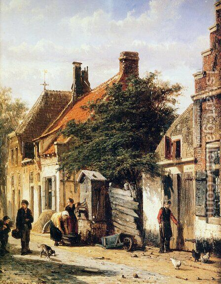 Walstraatje in Harderwijk by Cornelis Springer - Reproduction Oil Painting