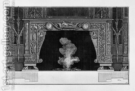 Fireplace two medals in the frieze of garlanded a figure lying on a bed by Giovanni Battista Piranesi - Reproduction Oil Painting