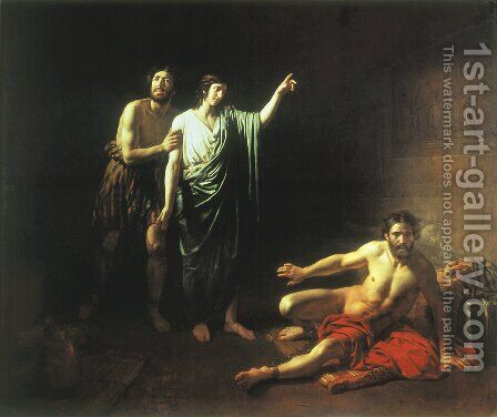 Joseph interpreting dreams to butler and baker, concluded with him in prison by Alexander Ivanov - Reproduction Oil Painting
