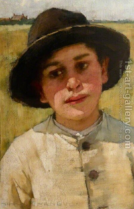 Study of a Boy in a Black Hat, before a Cornfield by Henry Herbert La Thangue - Reproduction Oil Painting