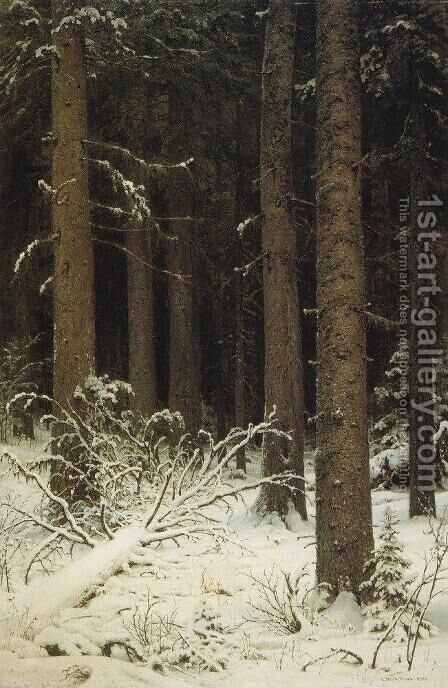 Fir forest in winter by Ivan Shishkin - Reproduction Oil Painting