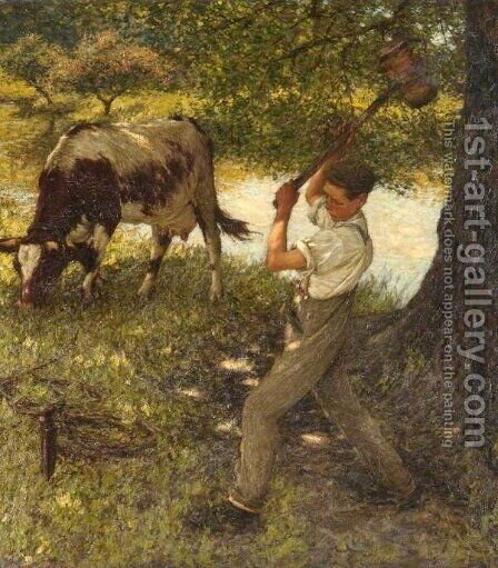 Stumping the Cow by Henry Herbert La Thangue - Reproduction Oil Painting
