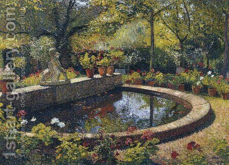 Fountain in My Garden by Henri Martin - Reproduction Oil Painting