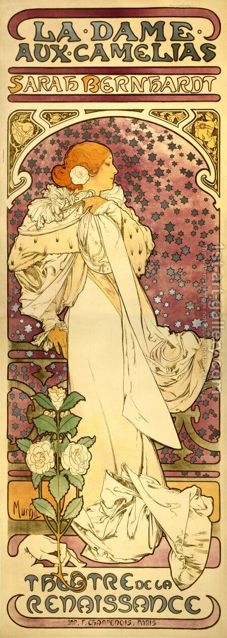 The Lady of the Camellias by Alphonse Maria Mucha - Reproduction Oil Painting