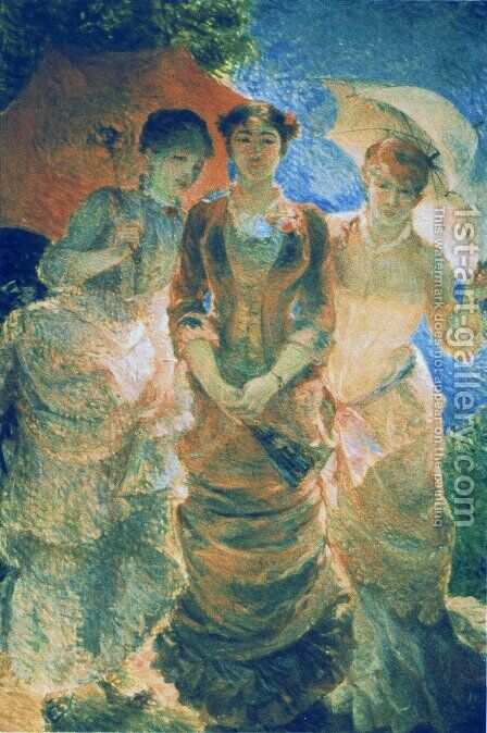 Three ladies with parasol (aka Three Graces) by Marie Bracquemond - Reproduction Oil Painting