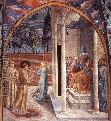 Trial by Fire Before the Sultan by Benozzo di Lese di Sandro Gozzoli - Reproduction Oil Painting