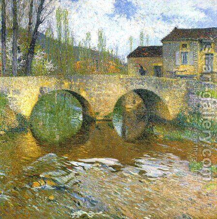 The Green Bridge by Henri Martin - Reproduction Oil Painting