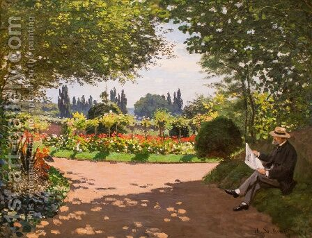Adolphe Monet Reading in the Garden by Claude Oscar Monet - Reproduction Oil Painting