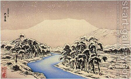 Mt. Ibuki in Snow by Goyo Hashiguchi - Reproduction Oil Painting