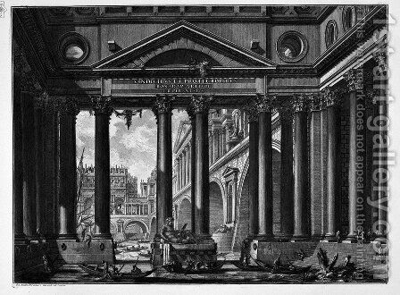 The Roman antiquities, t. 4, Plate II. According to the title. On the bank of a river a great colonnade through which you can see a bridge and monumental buildings of the opposite bank. by Giovanni Battista Piranesi - Reproduction Oil Painting