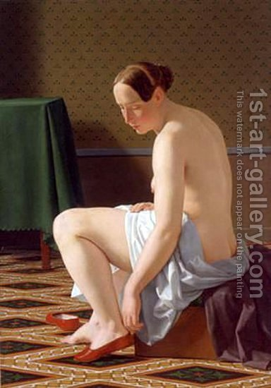 Nude Woman Putting On Her Slippers by Christoffer Wilhelm Eckersberg - Reproduction Oil Painting