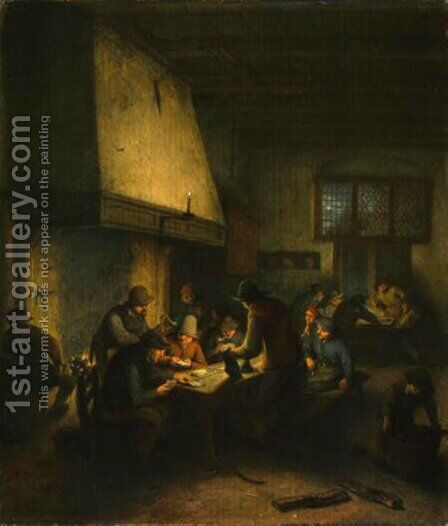 Tavern Scene by Adriaen Jansz. Van Ostade - Reproduction Oil Painting