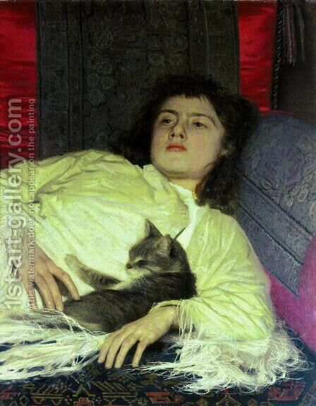 Girl with a Cat by Ivan Nikolaevich Kramskoy - Reproduction Oil Painting