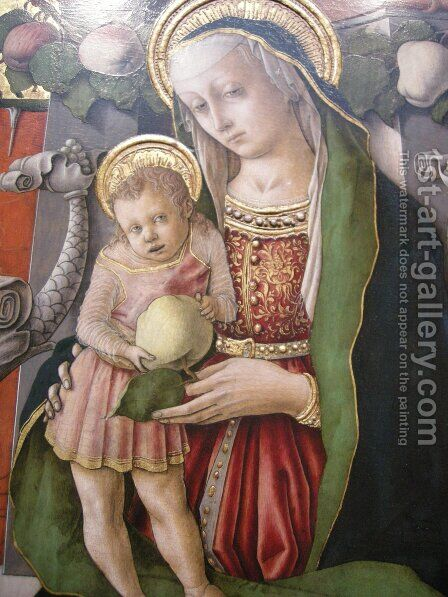 Madonna Enthroned with Donor (detail) by Carlo Crivelli - Reproduction Oil Painting