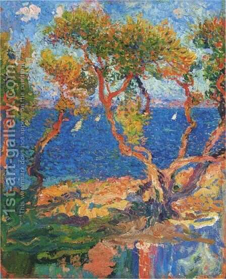 Olive Trees by the Sea by Henri Martin - Reproduction Oil Painting