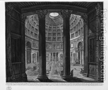 Interior view of the Pantheon by Giovanni Battista Piranesi - Reproduction Oil Painting