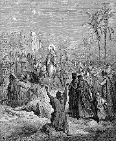 Entry Of Jesus Into Jerusalem by Gustave Dore - Reproduction Oil Painting