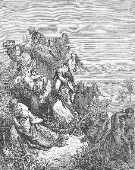 The Benjaminites Take the Virgins of Jabesh gilead by Gustave Dore - Reproduction Oil Painting