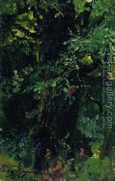Oak trunk in early summer by Isaak Ilyich Levitan - Reproduction Oil Painting