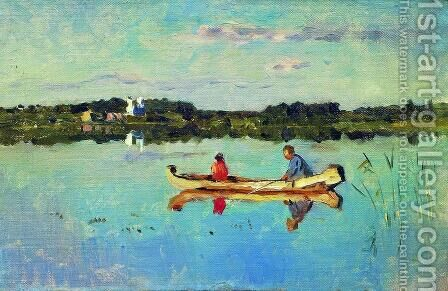 At the lake. Fishermen. by Isaak Ilyich Levitan - Reproduction Oil Painting