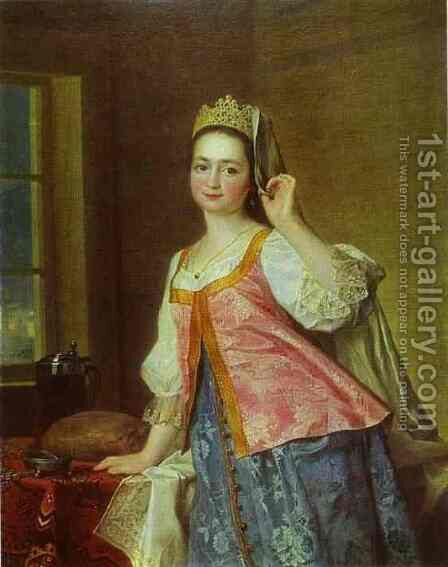 Portrait of A. D. Levitzkaya, Artist s Daughter by Dmitry Levitsky - Reproduction Oil Painting