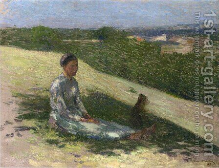Young Peasant Girl and Her Dog by Henri Martin - Reproduction Oil Painting