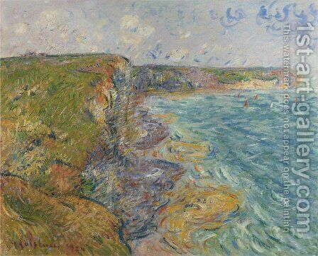 Sailboats near the Cliffs at Yport by Gustave Loiseau - Reproduction Oil Painting