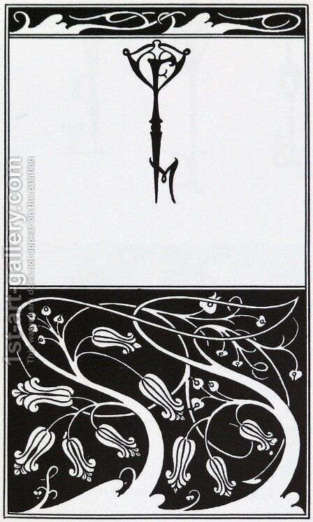 Title page and key monogram of The Mountain Lover by Aubrey Vincent Beardsley - Reproduction Oil Painting