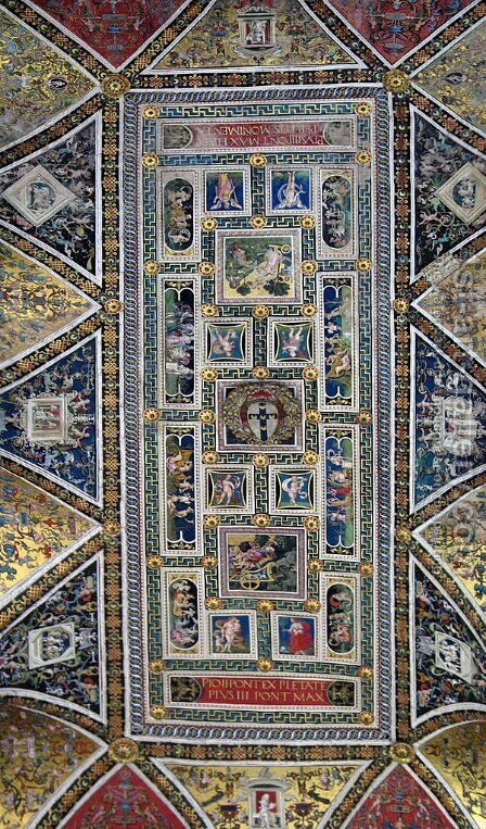 Ceiling of the Piccolomini Library in Siena Cathedral by Bernardino di Betto (Pinturicchio) - Reproduction Oil Painting