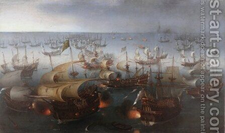 The Battle with the Spanish Armada by Hendrick Cornelisz. Vroom - Reproduction Oil Painting