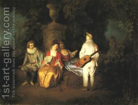 The Foursome by Jean-Antoine Watteau - Reproduction Oil Painting