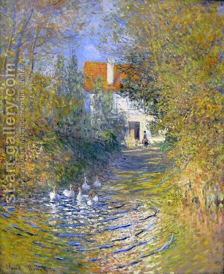 Geese in the creek by Claude Oscar Monet - Reproduction Oil Painting