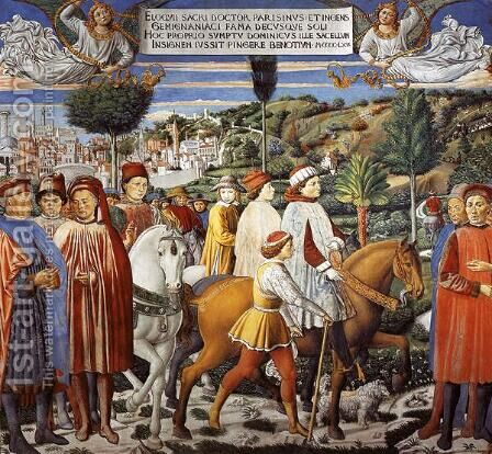 St. Augustine Departing for Milan by Benozzo di Lese di Sandro Gozzoli - Reproduction Oil Painting